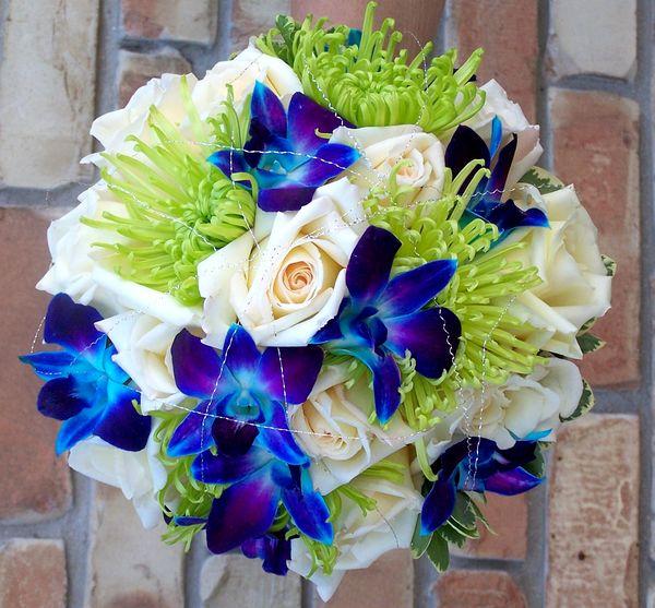Blue Gerbera Daisy Bouquet