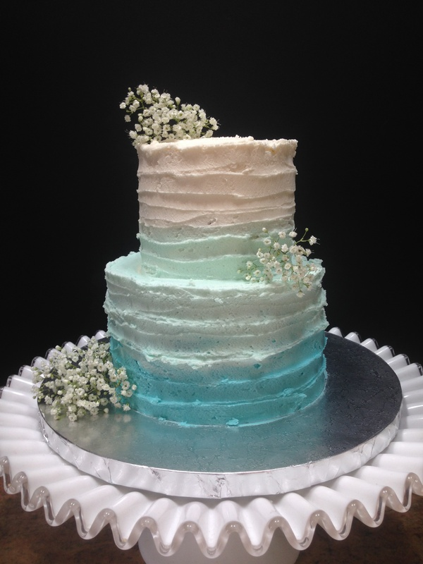 More Than 20 Teal Ombre Wedding Cake Ideas   Bouquet Wedding Flower Ombre Buttercream Wedding Cake in teal and white