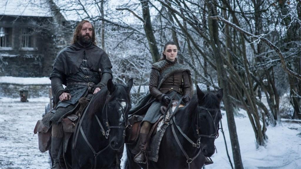 Arya and The Hound riding horses.