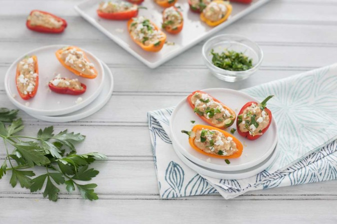 Feta and Hummus Stuffed Mini Peppers