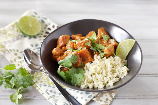 Slow Cooker Butter Chicken with Sweet Potatoes and Cauliflower Rice