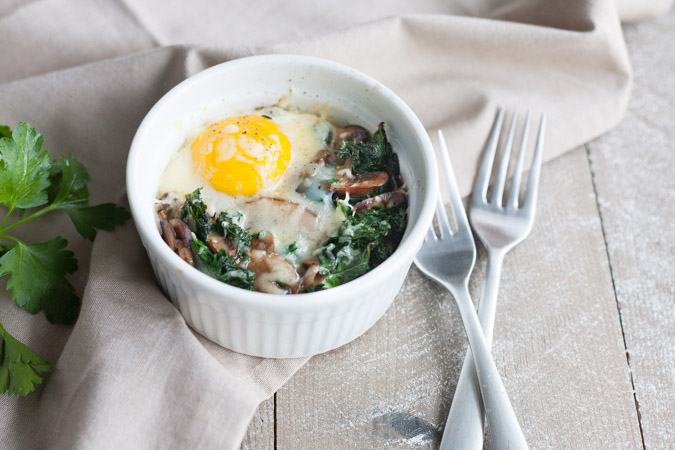 Baked Eggs with Kale and Mushrooms