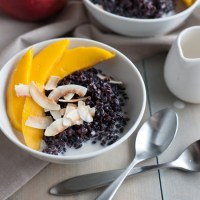 Black Rice Pudding with Coconut and Mango