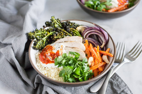Moroccan Chicken Couscous Bowls | BourbonandHoney.com -- Spicy, quick and easy these Moroccan Chicken Couscous Bowls are the perfect flavorful weeknight dinner or hearty weekend lunch.