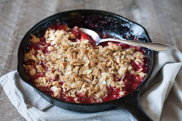 Bourbon and Honey Cherry Crumble