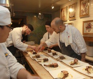 Lamb being plated at  the Beard House kitchen