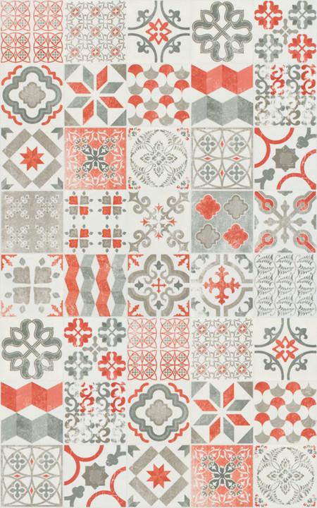 tapis vinyle carreaux de ciment rouge