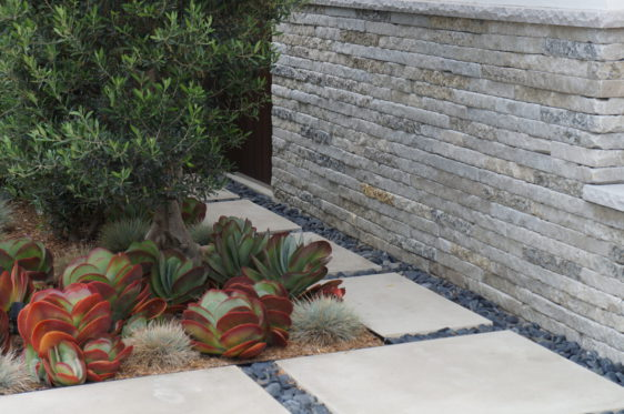 Landscape With Stone Pavers And Pebbles Bourget Bros