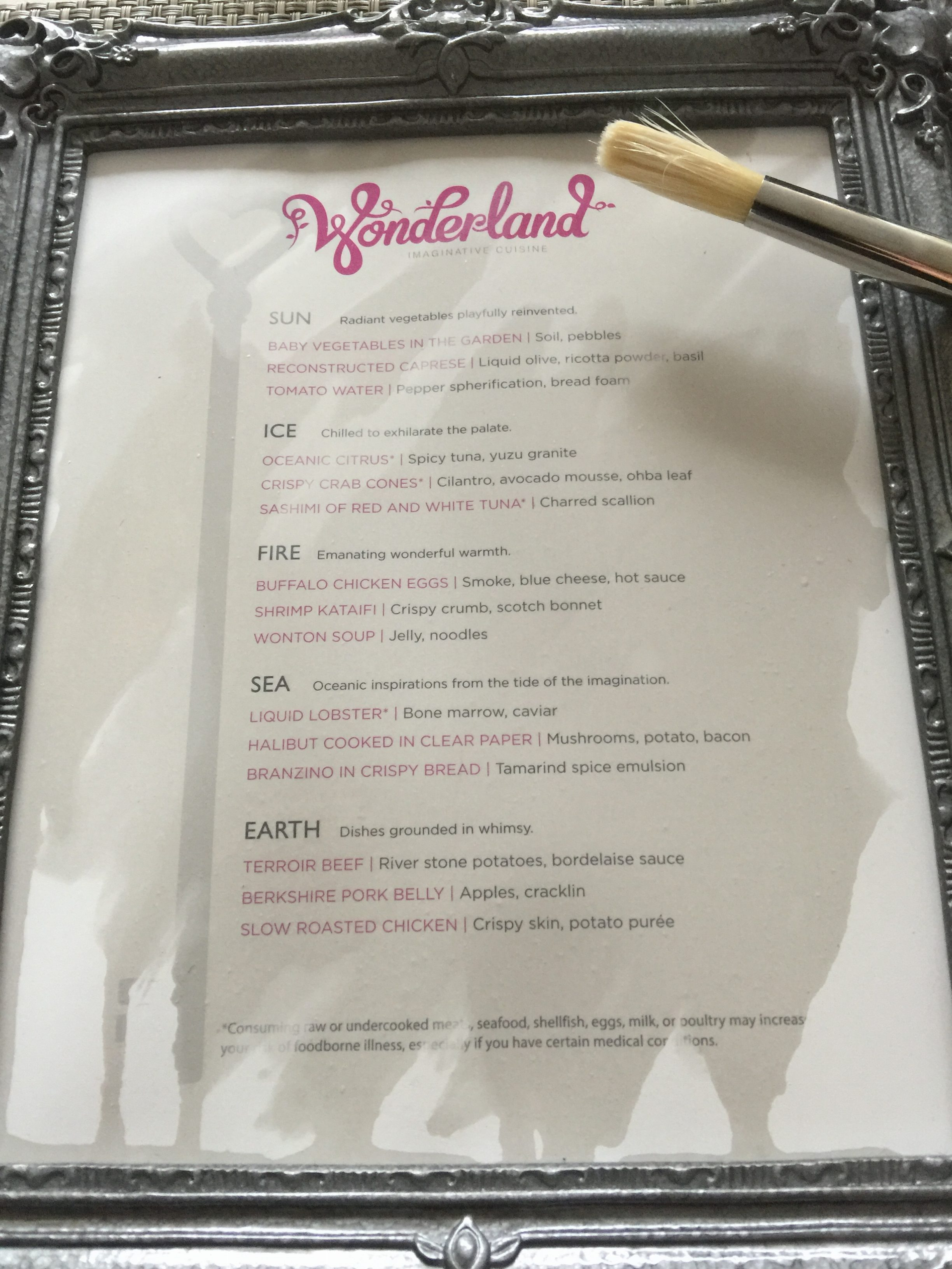 Wonderland Restaurant Harmony Of The Seas Menu