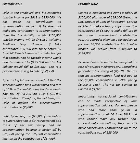 Superannuation examples