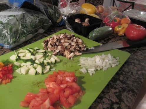 Chopped veggies for stuffed peppers