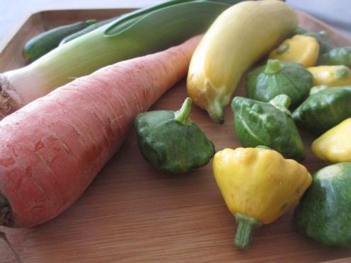 Carrots, leeks, and squash