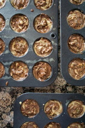 Chocolate zucchini tahini muffin Batter in Muffin Pans