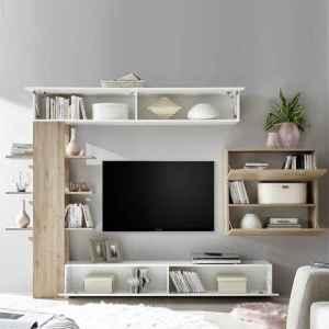 living tunisie meuble tv beige et blanc