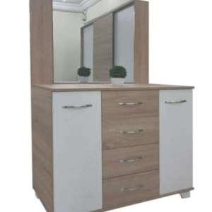 Commode 4 tiroirs et 2 portes avec miroir