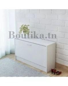 meuble porte chaussure en blanc pouf