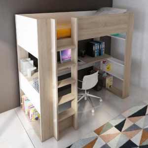 lit mezzanine pour enfant avec lit et bureau