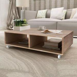 table basse style industriel avec 2 compartiments de rangement