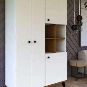armoire bibliothèque 4 portes battante façade blanche