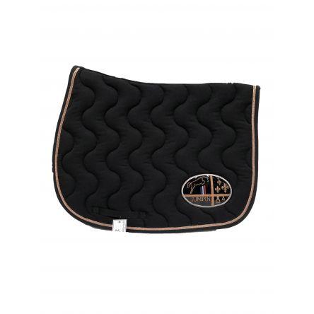 tapis de selle noir rose gold noir jump in boutique equitation
