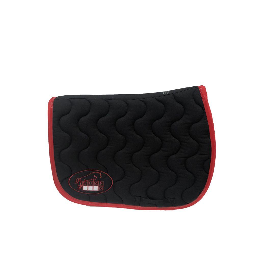 tapis de selle noir rouge rouge jump in boutique equitation
