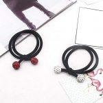 HeyBro Strass Boule Cheveux Corde Cheveux Band Multipurpose Cheveux Bague Cheveux Accessoires pour Femmes (Rouge)