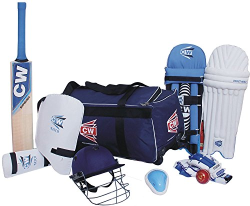 CW Academy 9Article de Cricket kit Bleu Grande Senior complète de Cricket de Batteur Accessoires Match Ensemble de Cachemire Saule Batte Sac de Roue (Kit) pour 13+ YR et au-Dessus de lecteurs