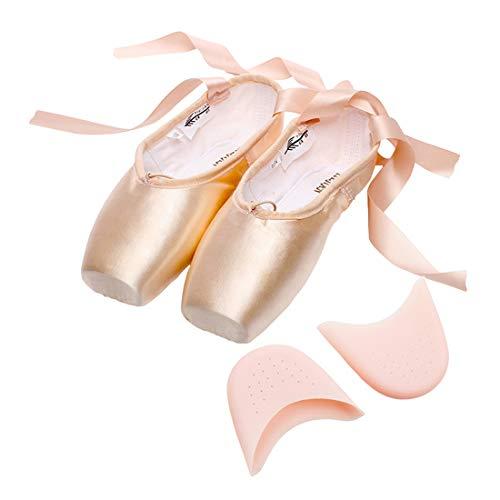 Filles Femme Pointe Chaussures de Ballet Doux Chaussons de Danse pour Gym Yoga Danse Filles Chaussures + Coussin d'Doréteil en Silicone 35