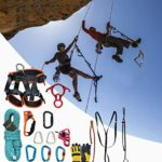 HMLIGHT Équipement extérieur Escalade Escalade Alpinisme Jeu de Corde avec Ceinture de sécurité/Boucle/descendeur/Riser/Sac de Rangement,100m