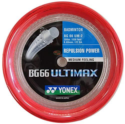 YONEX BG 66 ULTIMAX BLANC BADMINTON CORDAGE 200M, Color- Red