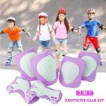 COOLGO Kit de Protection Roller Enfant,Coudière Genouillère Protège Poignet Enfant Set 6 (Genouillères + Coudières + Protège-Poignets) Pad pour BMX, Skateboard, Roller, Vélo, Patin à Glace (Violet)