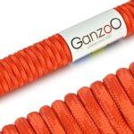 Ganzoo Corde de Parachute indéchirable paracorde 550(Manteau Noyau en Corde en Nylon), 550lbs, Longueur Totale 31m (100ft) Couleur: Rouge/Signal Orange