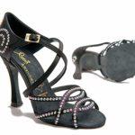 Manuel Reina – Chaussures de Danse Latino-américaine pour Femme – Sauce Anita Competition Swarovski – Bailar Bachata, Kizomba – Adrian et Anita – Noir – Noir, 39 EU EU