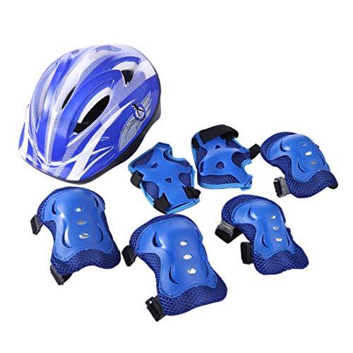 Seciie Enfants Sports Équipement de Protection, 7 Pièces Kit de Protection Casque Genouillères et Protège-Poignets pour Roller Scooter Skateboard Vélo (5-11 Ans)