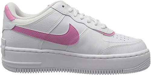 Nike W AF1 Shadow, Chaussure de Basketball Femme, White White Magic Flamingo, 42.5 EU