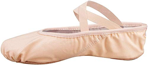 Filles Femme Demi Pointe Toile Chaussures de Ballet doux Chaussons de Danse pour Gym Yoga Danse, Rose ,38 EU