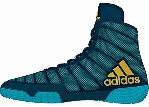 adidas Adizero Varner Men's Wrestling Shoes, Aqua/Yellow/Blue Size 9