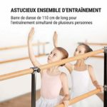 KLAR FIT Klarfit Barre Anna – Double Barre de Danse Classique, Pose Libre, 110 x 113 cm/Ø 2, Noir