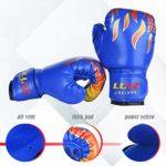 Luniquz Gants de Boxe Enfant 3-10 ans en Cuir Gant d'Entraînement de Boxe pour MMA Muay Thai Kickboxing Sac de Frappe-Bleu/6oz