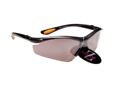 Rayzor Professionnel léger UV400 Gun Metal Gris Sport Wrap Cricket Lunettes de Soleil, avec Un Miroir fumé antireflet des Verres