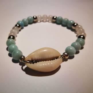 bracelet larimar et quartz rosea