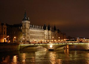 Building on River Seine at Night, Christmas Markets, Winter in Paris