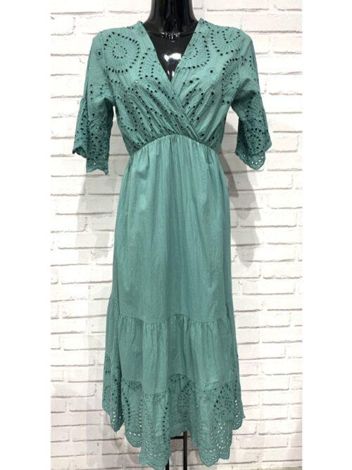 שמלה מקסי תחרה מנטה