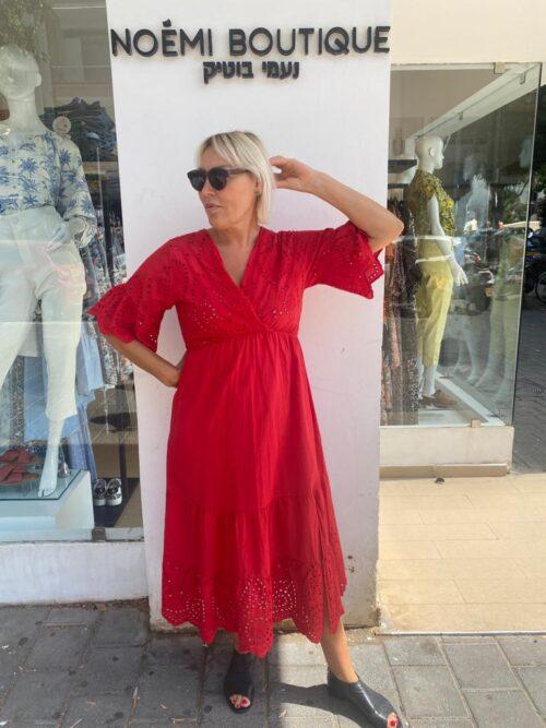 שמלה מקסי תחרה אדום