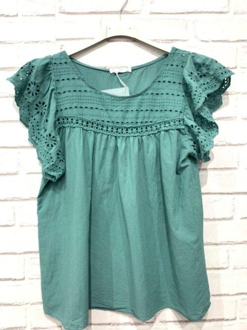 חולצה תחרה ויסקוזה ירוקה