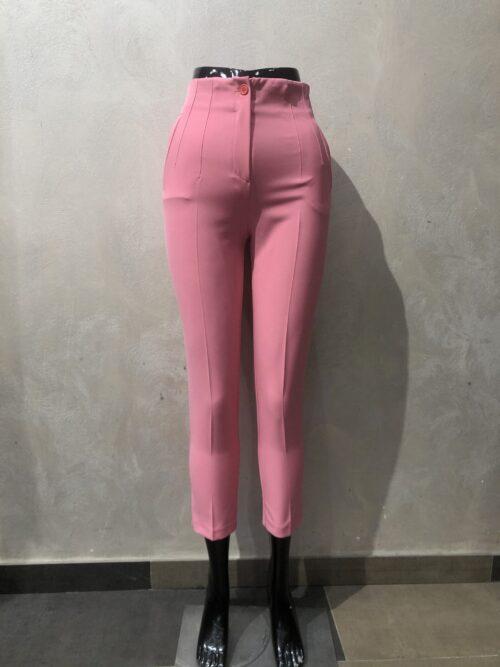 מכנסיים בגזרה גבוהה מחוייט ורוד