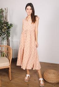 שמלה מקסי בהדפס פרחוני ניוד
