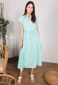 שמלה מקסי בהדפס פרחוני טורקיז