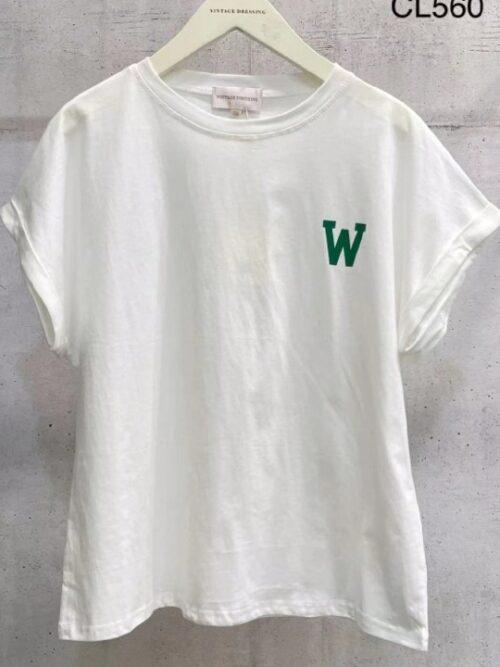 לבן W טי שירט