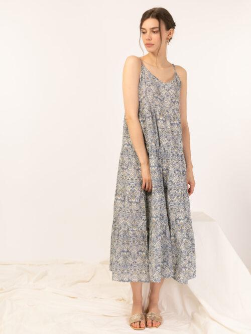 שמלה כתפיות  הדפס אתני